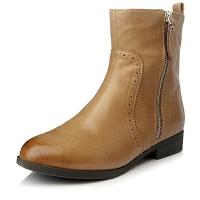 Tata/他她专柜同款棕色油蜡羊皮女短靴(绒里)2YW55DD4