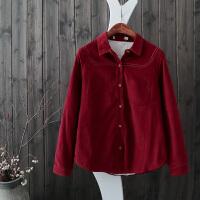 C9长袖加绒衬衫新灯芯绒衬衣加厚条纹气质秋冬打底衫上衣潮
