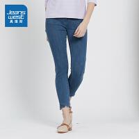 [秒杀价:71.9元,新年不打烊,仅限1.22-31]真维斯女装 2019秋装新款 时尚紧身四面弹牛仔裤