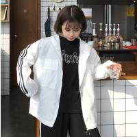 韩版风衣女装开学季短款学院风三条杠运动开衫连帽bf学生薄款外套