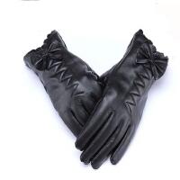 女式手套蝴蝶结加绒真皮手套羊皮保暖短款皮手套
