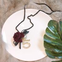 -气质花朵蝴蝶结毛衣链数字镶钻珍珠吊坠挂链长款项链衣服配饰装饰