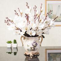 欧式仿真花束玫瑰绢花套装摆件客厅室内装饰摆件餐桌塑料假花干花 白色 4束玉兰+金林斯