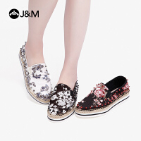jm快乐玛丽2019春季新款潮铆钉麻底套脚一脚蹬渔夫鞋帆布鞋女