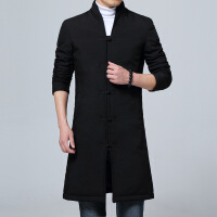 冬季棉衣男中长款立领中国风汉服中式外套唐装棉袄古风中山装