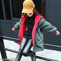 冬季女童外套2018冬装新款韩版儿童中大童加绒加厚两面穿中长款风衣潮秋冬新款