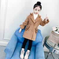 女童呢子外套冬装2018新款韩版洋气潮女孩中长款儿童加厚毛呢大衣