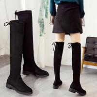 ZHR2017冬季新款过膝长靴韩版长筒靴高筒靴粗跟弹力靴加绒女靴子F69