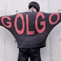 新款个性秋冬宽松套头蝙蝠衫毛衣潮流字母提花街头嘻哈针织毛线衣