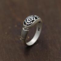 -银925打造个性镂空牡丹花开口指环 泰银做旧鱼形复古戒指 开口均码