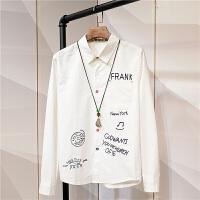春季长袖衬衫白色韩版学生印花彩扣个性学院风青少年衬衣男打底衫