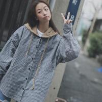 秋季韩版女装原宿风bf格子衬衫宽松百搭连帽薄款学生外套潮