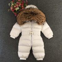 2018新款冬季童装貉子毛男童女童宝宝儿童婴儿加厚连体哈衣羽绒服