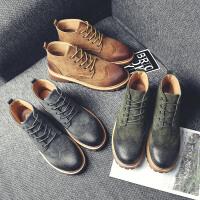 潮男马丁靴男短靴冬季加绒英伦风布洛克高帮鞋子百搭东北雪地靴