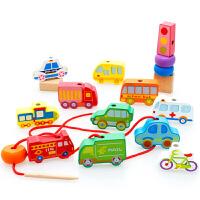 宝宝穿线珠子绕珠幼儿童智力积木制男女孩串珠玩具2-3-6岁