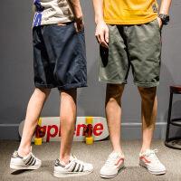 小红标刺绣工装短裤男士夏装纯色休闲中裤潮牌复古青年五分裤