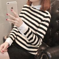 毛衣女士针织短款假两件打底衫女装春装2018新款女韩版时尚百搭潮