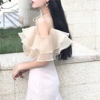 2018新款女装夏季温柔气质chic风韩版欧根莎系带荷叶边背心吊带衫