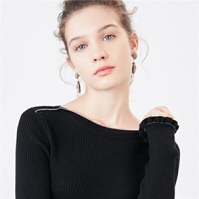 黑色打底衫女士冬季新款修身显瘦上衣百搭长袖毛衫套头针织衫