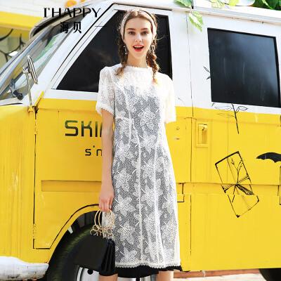 海贝2018夏季新款女装 圆领花边钩花吊带中长款两件套短袖连衣裙