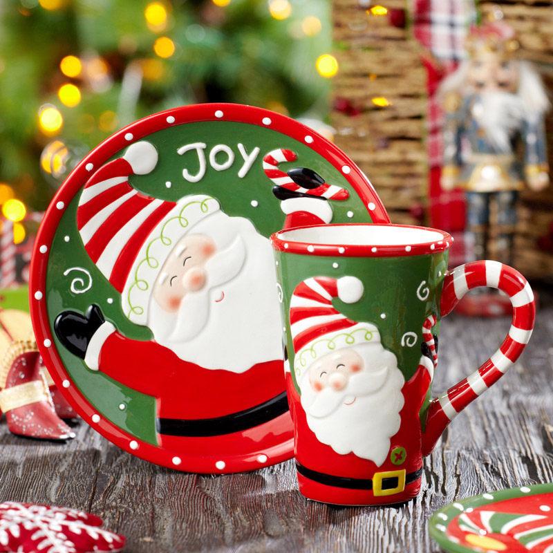 Evergreen爱屋格林美式手绘圣诞老人陶瓷浮雕杯盘礼盒套装圣诞杯手绘浮雕 精美礼盒包装
