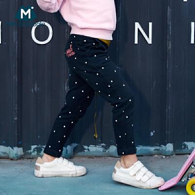迷你巴拉巴拉纯棉长裤2018春新款女童裤子儿童宝宝印花休闲裤卫裤