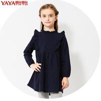 鸭鸭(YAYA)2018童装女童连衣裙春装中大童长袖棉质淑女儿童公主裙Q-G360332