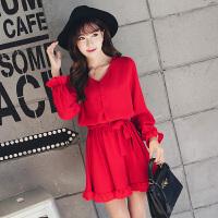 夏季显瘦大码女装v领红色复古雪纺裙中长款荷叶边鱼尾连衣裙打底a