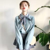 春装女装chic韩版宽松显瘦条纹拼接蝴蝶结长袖木耳边衬衫打底上衣