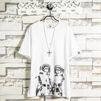 2018新款纯棉短袖T恤男修身百搭韩版潮流太空猫印花学生夏季上衣