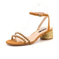 【大牌日3折】星期六(ST&SAT)夏季专柜同款羊皮革水钻时尚粗跟凉鞋SS82115496
