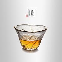 当当优品 锤目纹品茗杯-良辰 光阴系列 描金加厚玻璃茶杯 功夫茶具 50ml