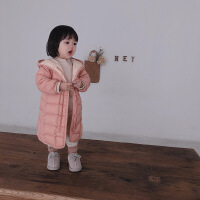 20181116035321718男女童冬季加厚日系羽绒服宝宝儿童中长款白鸭绒大衣外套
