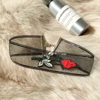 -手工布艺玫瑰花朵刺绣项链 复古颈链 短款锁骨链个性项圈女