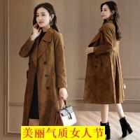 鹿皮绒风衣女中长款韩版修身罗子君同款 新款女装春装外套
