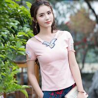 民族风女装刺绣上衣 2018夏装新款中国风短袖t恤女修身拼接打底衫