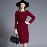 秋季女装韩版长袖显瘦包臀中长款一字领职业通勤ol气质连衣裙