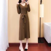 针织连衣裙女时尚长款毛衣裙V领修身显瘦气质长裙女士新款裙子春