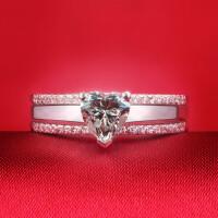 钻戒女钻石戒指女婚戒指环女欧美套戒情侣戒指女饰品 材质925银镀白金 8号-22号 现货即发