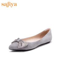 索菲�I(Safiya)春季�q面羊皮革蝴蝶�Y女鞋尖�^平跟�r尚�涡�SF91111201