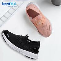 天美意新款童鞋�和��涡�春夏季新款�W面透�膺\�有�一�_蹬男女童鞋DX0305
