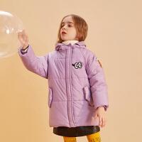 【年中大促2件2折:99】巴拉巴拉旗下巴帝巴帝2019年冬女童中大童时尚休闲儿童棉衣棉服保暖