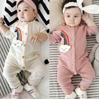 冬季童装婴儿秋季新款衣服女宝宝0-3岁2新生儿长袖爬服幼儿外出连体衣秋冬新款