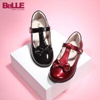 【159元任�x2�p】百��Belle童鞋新款女童�r�b鞋�r尚亮面�和�皮鞋蝴蝶�Y女生休�e鞋 (3-6�q可�x) DE0759