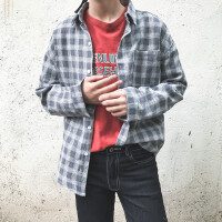 日系清新男士衬衣港风宽松长袖格子衬衫男夏季百搭休闲衬衣薄外套