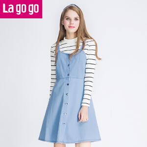 Lagogo2016年秋冬新款吊带连衣裙中长款a字牛仔裙背带裙女裙子