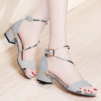 金丝兔中跟凉鞋女夏季新款时尚鞋子粗跟凉拖鞋韩版百搭大码女鞋