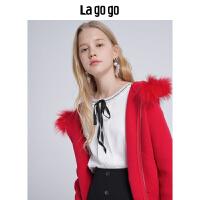 【清仓3折价179.7】Lagogo/拉谷谷2019新款连帽针织衫女HCMM839C21