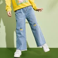 【1件4折:102】巴拉巴拉旗下巴帝巴帝女童牛仔裤儿童阔腿裤长裤子潮2020春装新款洋气女