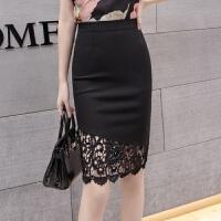 黑色半身裙包臀裙高腰大码弹力修身显瘦蕾丝勾花不规则韩版一步裙 黑色